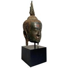 Thai Bronze Buddha Head, Ayutthaya Kingdom, U-Thong a Style, 14th Century