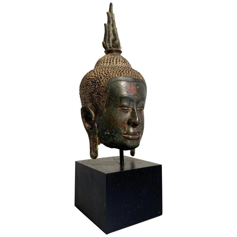 Thai Bronze Buddha Head, Ayutthaya Kingdom, U-Thong a Style, 14th Century For Sale