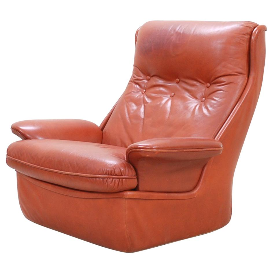 1970 Space Age Ox Red Leather Lounge Chair