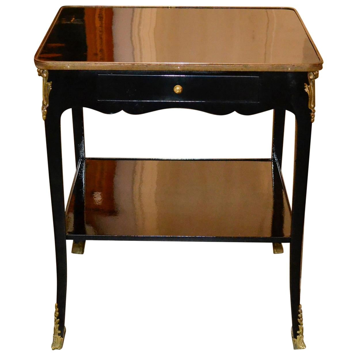 Charmant French Transitional Lacquered Side Table For Sale