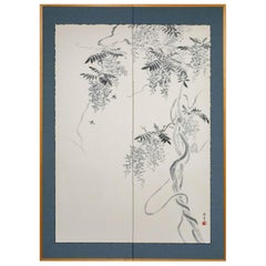 Japanese Two Panel Screen, Wisteria Vine with Bumblebees