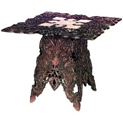 Chinese Art Nouveau Style Walnut Floral Carved Table