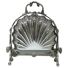 19th Century Antique Victorian Silver Plated Folding Biscuit Box, circa 1870