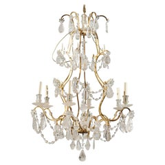 French Gilt Iron Six-Arm 19th Century Chandelier with Madagascar Rock Crystals
