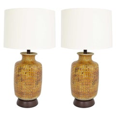 Pair of Large Midcentury Ceramic Earthernware Table Lamps