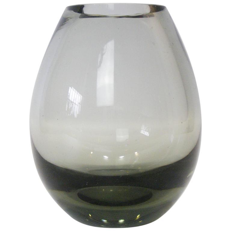 Per Lutken for Holmegaard Teardrop Smoked Glass Vase