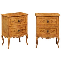 Pair of French 1870s Walnut Louis XV Style Small Commodes with Inlaid Cartouches