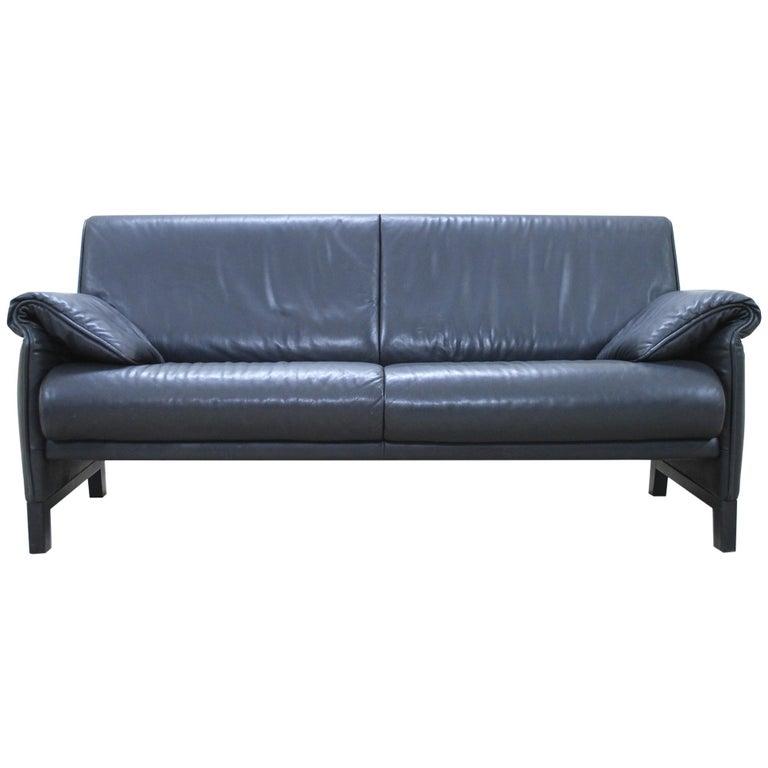 De Sede DS 14 Black Leather Sofa For Sale