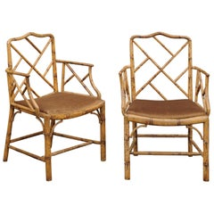 Pair of English Chinese Chippendale Style Faux Bamboo Armchairs, circa 1900