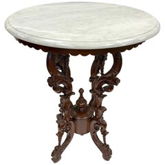 Victorian Carved Mahogany Marble-Top Round Table