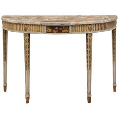 English 1860s Neoclassical Painted Demilune with Chinoiserie and Marble Top