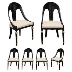 Set of Six Vintage Ebonized Wood Upholstered Spoon Back Chairs with Gilt Accents