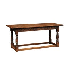 English 1810s George III Oak Library Table with Baluster Legs and Carved Apron