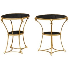 Pair of French 1920s Directoire Style Gilt Bronze and Marble Oval Side Tables