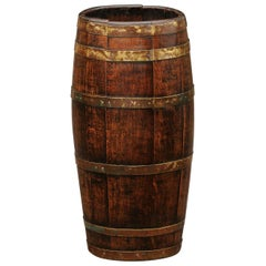 English Slender Rustic Oak Barrel with Brass Braces from the Turn of the Century