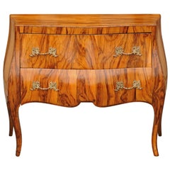 Vintage French Louis XV Style Olivewood Bombé Two-Drawer Chest, circa 1950