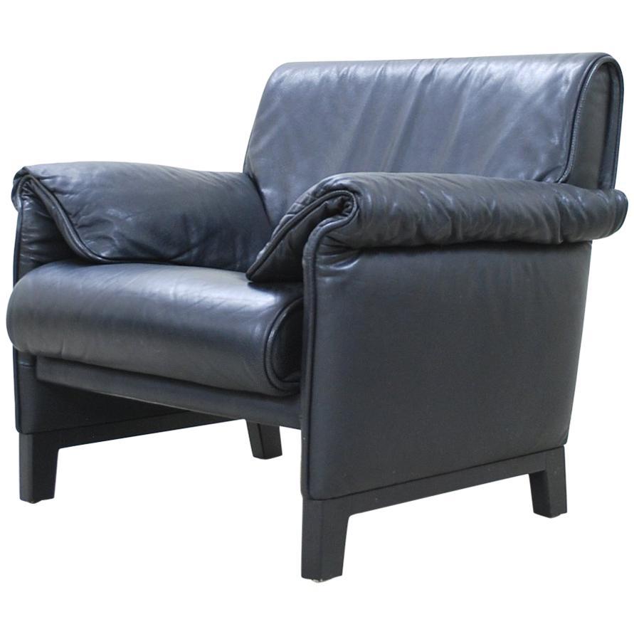 Charmant De Sede DS 14 Black Leather Armchair For Sale