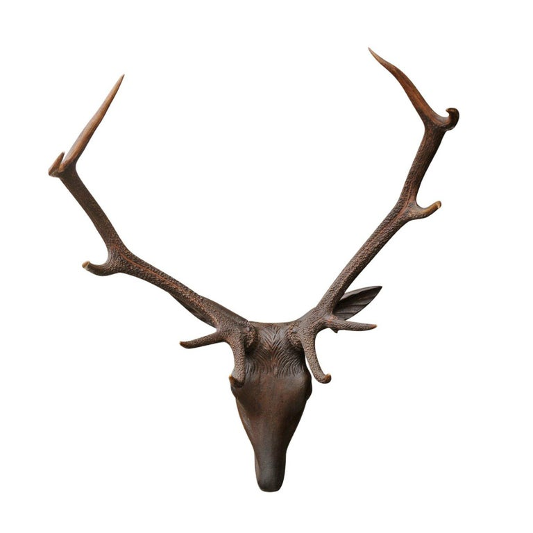 Black Forest Hand Carved Wood Stag Head, circa 1920 with Authentic Antlers For Sale