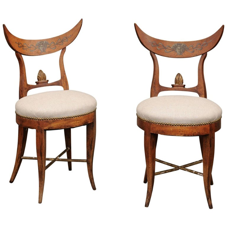 Pair of Italian 1860s Upholstered Side Chairs with Crescent Backs and Saber Legs For Sale