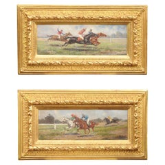 Pair of Late 19th Century American Oil Horse Racing Paintings in Giltwood Frames