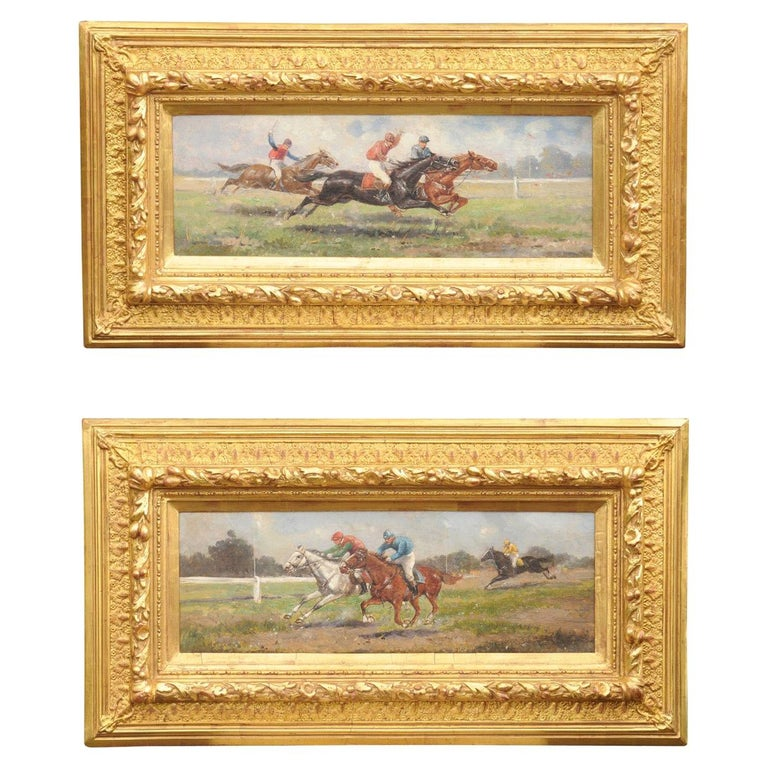 Pair of Late 19th Century American Oil Horse Racing Paintings in Giltwood Frames For Sale