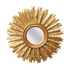 French 1940s Vintage Carved Giltwood Sunburst Mirror with Radiating Sunrays