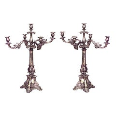 Pair of English Georgian Style Silver Plate 5-Arm Candelabra