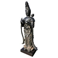 Japan Fine Antique Tall Cast Bronze Kanon Guan Yin Compassionate & Lotus Branch