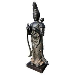 Japan Fine Antique Tall Cast Bronze Kanon Guan Yin Compassionate & Lotus Branch