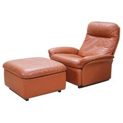 De Sede Model DS 49 Cognac Brandy Leather Lounge Chair and Ottoman