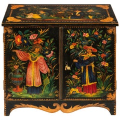 Regency Period Polychrome Penwork Chinoiserie Table Cabinet