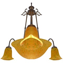 Vintage French Art Deco and Art Nouveau Yellow Amber Glass 4-Light Chandelier