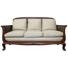 Anglo-Indian Colonial Style Mahogany Sofa