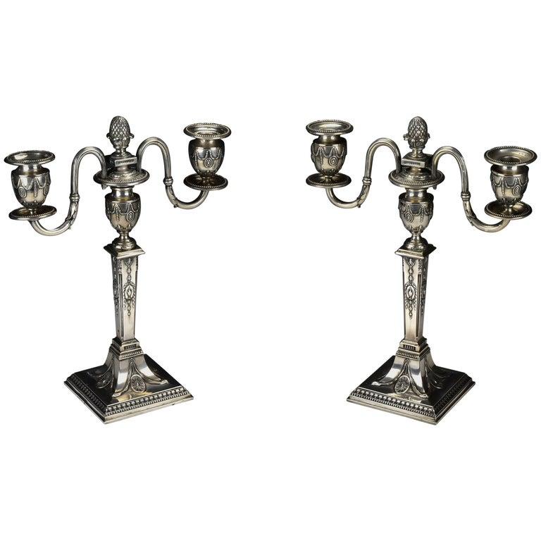 Pair of Schwarz and Steiner Vienna, Austria .800 Silver Candlesticks For Sale