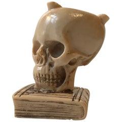 Vintage Italian Cast Ebonite Skull Ashtray, Signed, 1960s