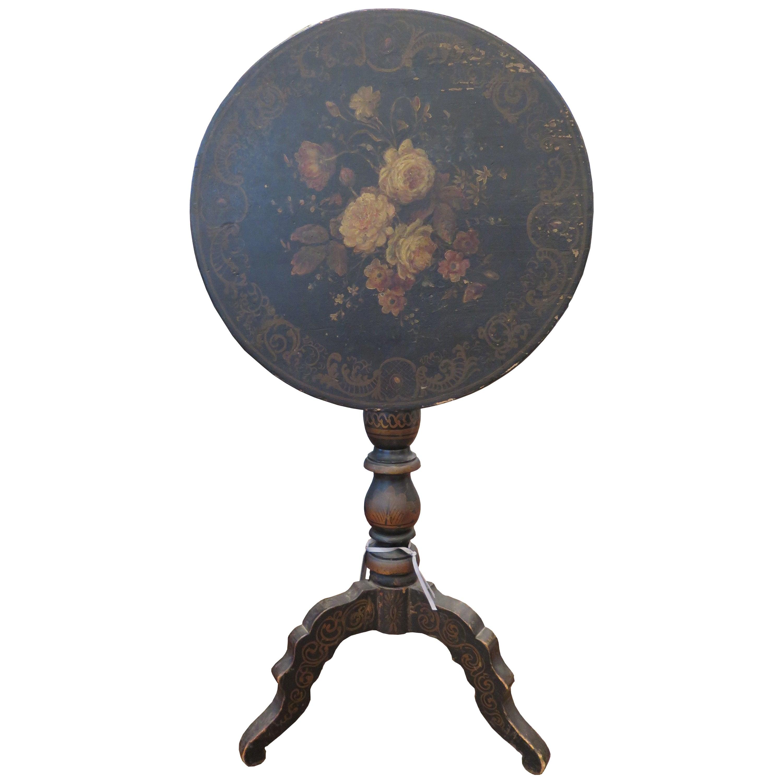 19th Century Tole Tilt-Top Parlor Table