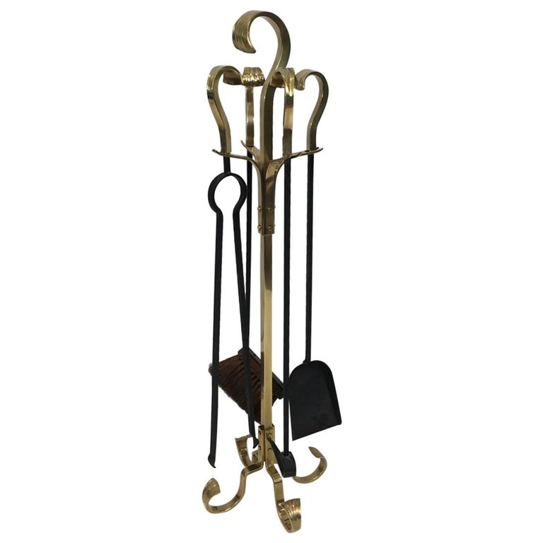 Bronze and Iron Fire Place Tools, French, circa 1970 For Sale