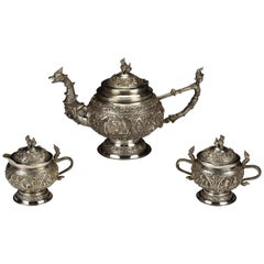Heavy 3 Piece Burmese .950 High Grade Silver Figural Tea Set with Characters