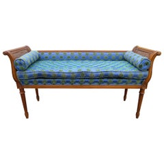 Wonderful Hollywood Regency Neoclassical Style Cane Arm Upholstered Bench