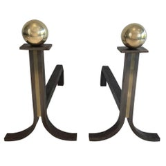 In the Style of Jacques Adnet, Pair of Modernist Steel, Iron and Brass