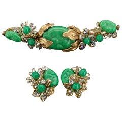 Miriam Haskell Jade Pate De Verre Cluster Rhinestone Parure Earrings Brooch
