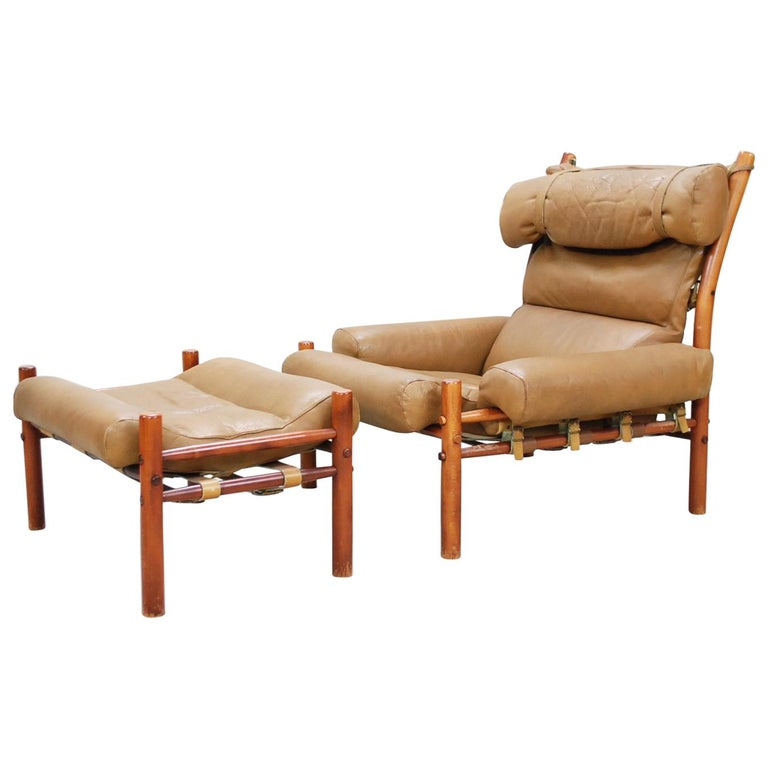 Arne Norell Model Inca Caramel Leather Lounge Chair and Ottoman For Sale