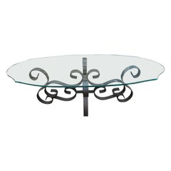 Wonderful Oblong Wrought Iron Scroll Coffee Table Mid-Century Modern