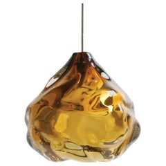 Small Amber Happy Pendant Light, Hand Blown Glass - Made to Order