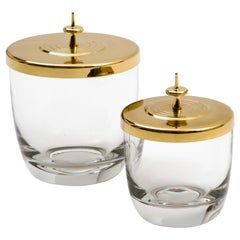 Tommi Parzinger Pair of Brass Lidded Blown Glass Jars, circa 1959