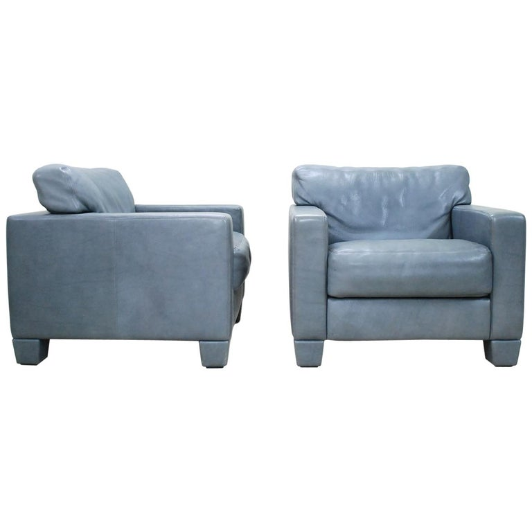 De Sede Ds 17 Pair of Grey Leather Lounge Chair Armchair For Sale