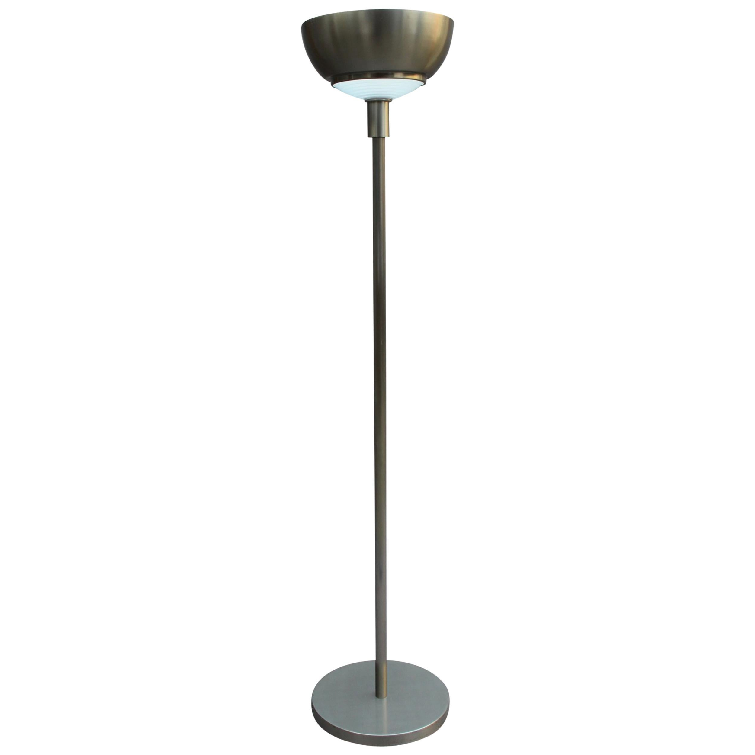 Fine French Art Deco Nickel and Glass Floor Lamp by Jean Perzel