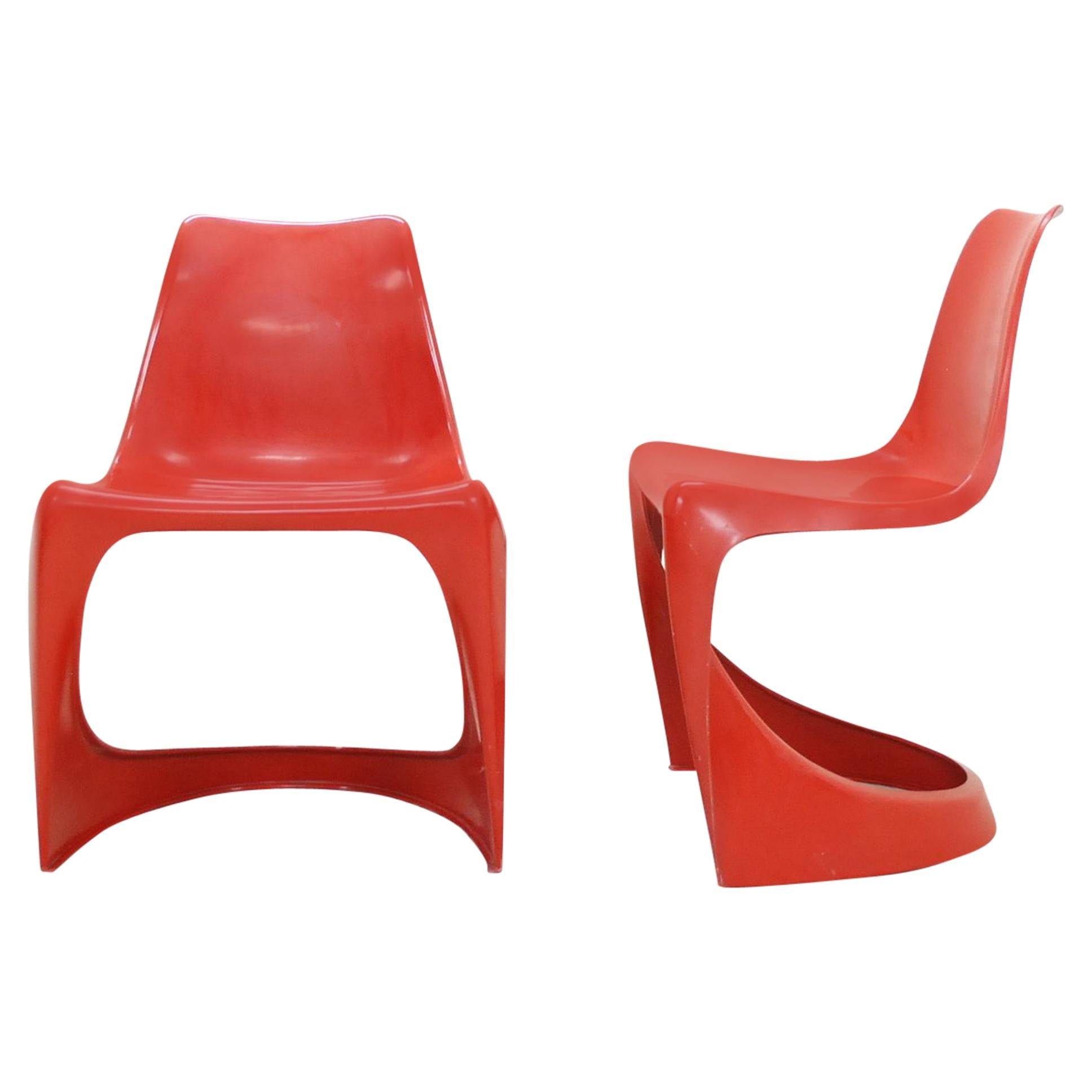 Steen Ostergaard Model 290 Pair of Red Chair for Cado, 1970