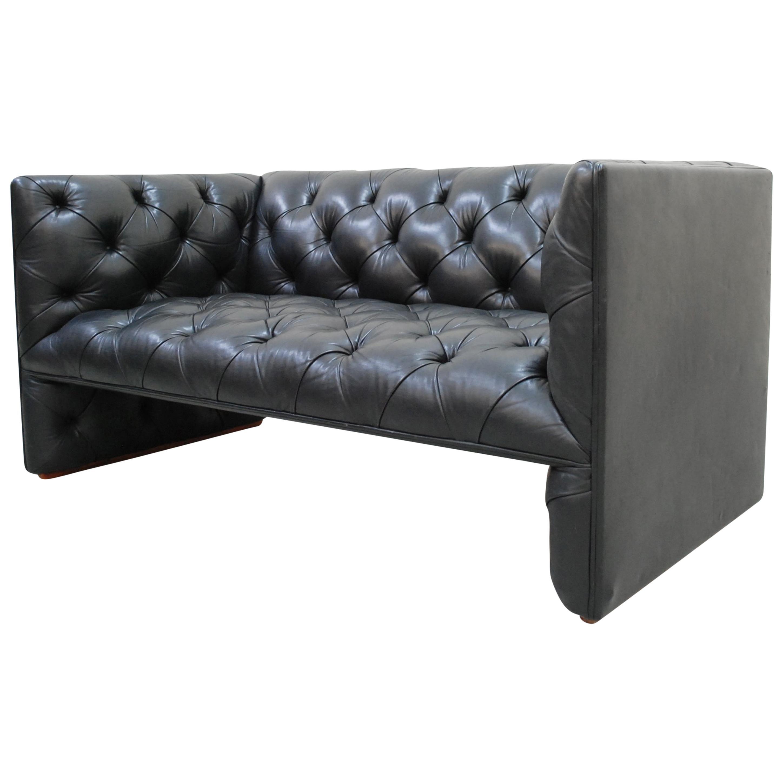 Wittmann Black Leather Sofa Model Edwards Design by Eward B. Tuttle