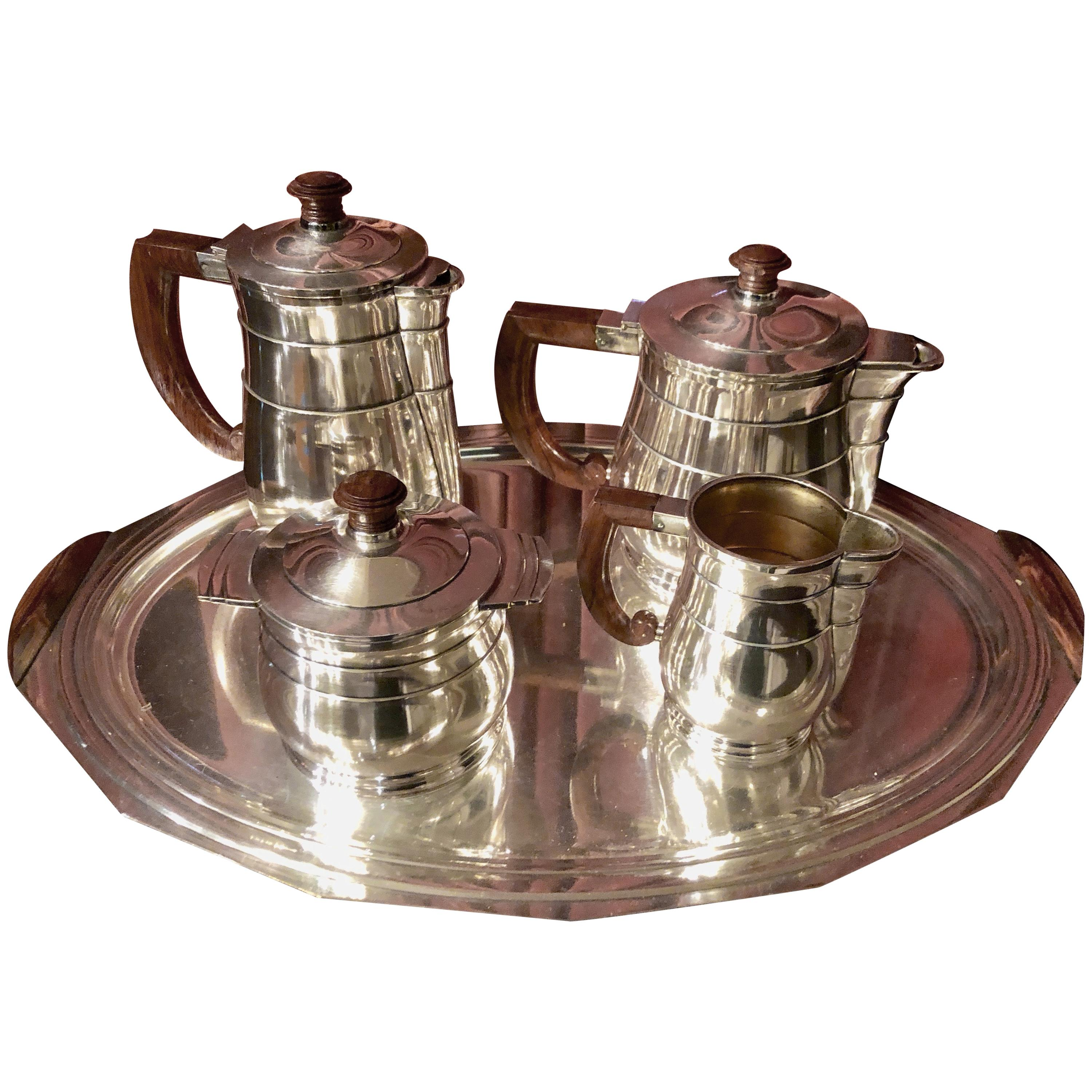 Five-Piece French Art Deco Silver Plated Tea and Coffee Service, 20th Century